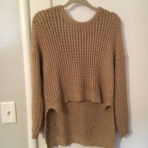 Brown High-Low Knitted Sweater
